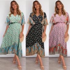 Bohemian short sleeve V-neck Floral Dress