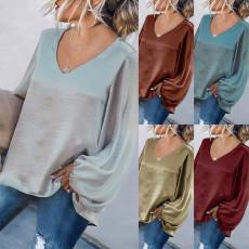 Loose V-neck solid top T-shirt