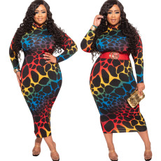 Print tight buttock medium length dress