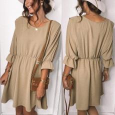 Fashion solid color patchwork dress