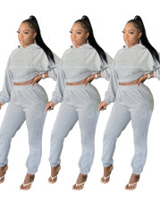 Fashion hooded sports two piece set