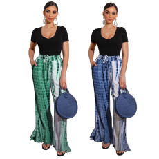 Tie dyed striped texture pants