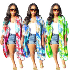 Tie dyed short sleeve trench coat