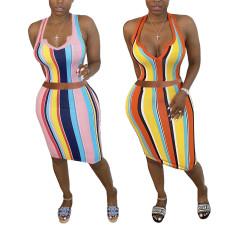 Two piece deep V off shoulder striped hip skirt