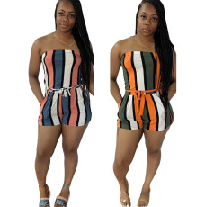 Striped print waistband wrap up Jumpsuit