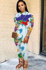 Map printing casual two piece set