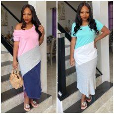 Color matching Short Sleeve Dress