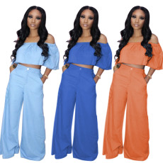 Two piece set with wide feet and high waist