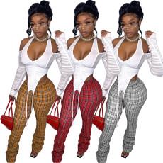 Casual Plaid Pocket stack pants