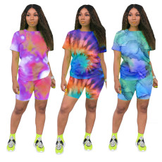 Casual fashion tie dye printing suit