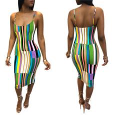 Sexy Color Stripe Mini suspender dress