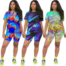 Fashion leisure color tie dyeing two piece set
