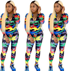 Fashion casual camouflage open neck Jumpsuit
