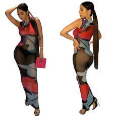 Sexy perspective mesh sleeveless dress