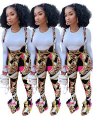 Fashion print trumpet slim back suit