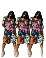 Fashion suit collar print trench coat