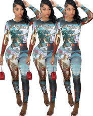 Tight positioning print Jumpsuit