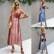 Fashion tie dye sexy strapless dress
