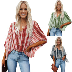 Fashion tie dyed V-neck button loose top