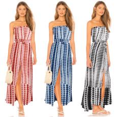 Fashion tie dyed strapless dress
