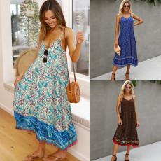 Fashion print V-neck Halter Dress