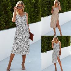 Fashionable leopard pattern bandage vest suit skirt