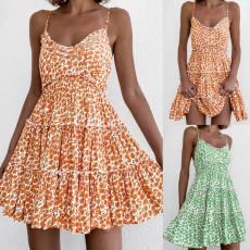 Fashion print sexy open back A-line dress