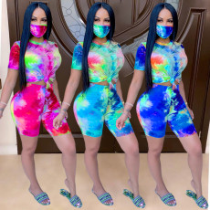 Casual fashion tie dye printing suit with mask