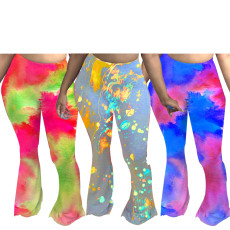 Sexy tie dye printed casual flared pants