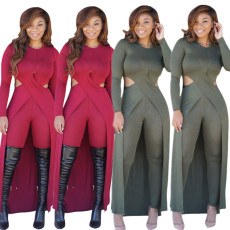 Casual cross long T + tights suit