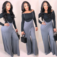 Two piece loose wide leg strap pants