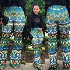 Fashion printed micro trumpet trousers