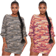 Casual print camouflage dress