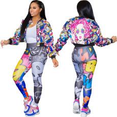 Fashion print zipper jacket