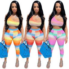 Gradient printed rib sportswear