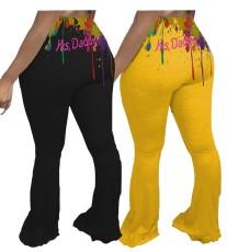 Sexy hip print flared pants