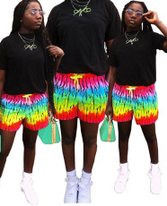 Rainbow print pocket casual shorts