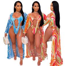 Sexy fashion print Cape swimsuit 2-piece set