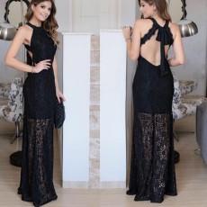 Sexy sleeveless open back dress