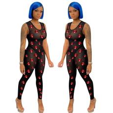Sexy screen printed sleeveless Jumpsuit