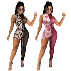 Printed mesh asymmetric Tight Sexy Jumpsuit