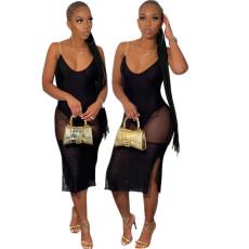 Sexy V-neck drawstring mesh dress