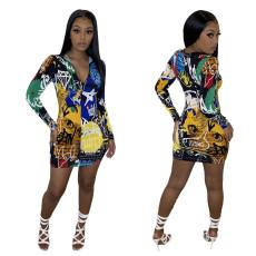 Fashion leisure school graffiti dress