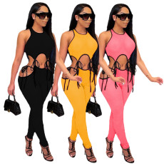 Sexy casual fashion solid two piece set