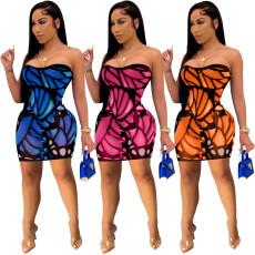 Sexy fashion print short dress
