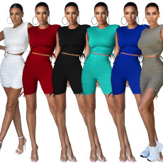 Casual solid pleated sports shorts suit