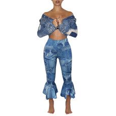 Casual fashion printed Ruffle Pants (single pants)