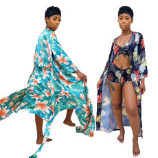 3-piece leisure printed beach suit and swimsuit