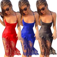 Strap lace stitching bandage dress