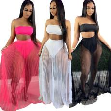 Three piece mesh skirt